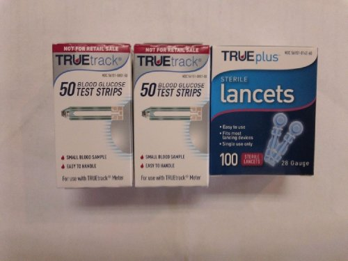 TRUEtrack Blood Glucose Test Strips, 100ct with a Box of 28g