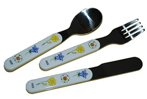 3-Tlg-Besteckset-aus-Edelstahl-Blumen-Blten-Junge-und-Br-Mrchen-Teddy-Gabel