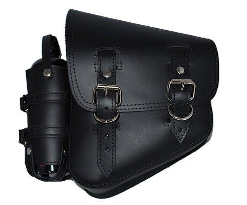 La Rosa Harley-Davidson Softail Black Leather Left Saddle Bag with Extra Fuel Gas Bottle (Saddlebag Gas Can compare prices)