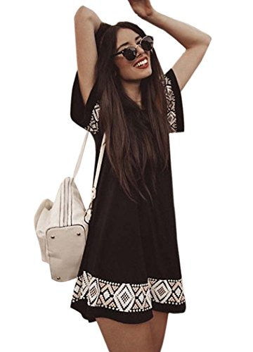 Bluetime-Womens-Summer-Bohemian-Geometric-Pattern-Short-Sleeve-Tunic-Shift-Dress