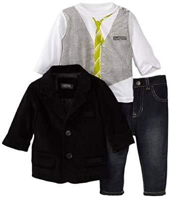 Kenneth Cole Baby-boys Infant Blazer with Long Sleeve Tee and Jean, Black, 12 Months