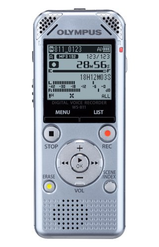 Olympus WS-811 DNS Digital Stereo Voice Recorder with DNS Speech Recognition Software, Flash 2GB, WMA, MP3 and Built in USB Key - Silver