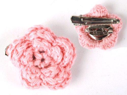 ヘアピン レース ウール 花柄 髪飾り 結婚式 パーティー#ピンク