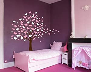 Large Wall Tree Baby Nursery Decal Butterfly Cherry Blossom 1139 (6 Feet Tall)