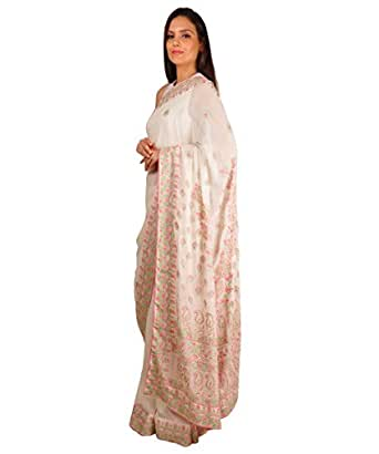 Talking Threads Georgette Chikankari Embroidered Saree  TT 10011SAKDMCE_White  available at Amazon for Rs.22000
