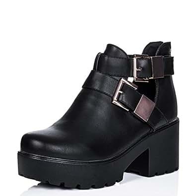 stiefeletten ankle boots schuhe blockabsatz plateau. Black Bedroom Furniture Sets. Home Design Ideas