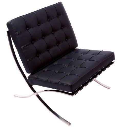 Pavilion Black Leather Modern Accent Chair