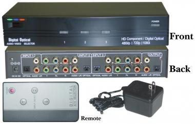 3 in / 1 Out, HDTV / 1080i Component Video + Digital Audio Active Selector with Remote Control