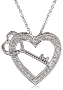"""Sterling Silver """"Mom"""" Diamond Accent Heart and Key Pendant Necklace (0.02 cttw, I-J Color, I2-I3 Clarity), 18"""""""