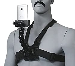 Livestream Chest Mount for Hands-Free Live Streaming on Periscope or Meerkat. Two wearable configurations; Includes Chest Mount, Goose-neck, Phone Clamp Mount, & J-Hook, Screw, and Action Mount Adapter. Operable with Any