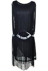 Anna-Kaci Women's Organza Fringe Silver Trim Drop Waist Dress