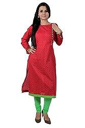 Kittus Fashion House Women's Cotton Straight Kurti (Kskrt-1064_Red_Large)