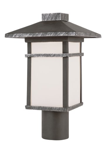 Trans Globe Lighting 40023 Rt 15-Inch Mission Post Mount Lantern, Rust