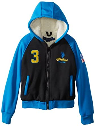 U.S. Polo Association Big Boys' Fleece Jacket with Sherpa Hood and Body Lining, Black/Blue, 8
