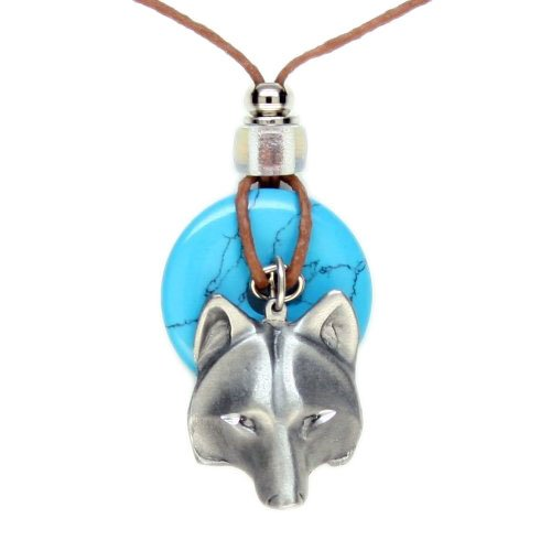 Earth Reflections Diamond Cut Pendant Necklace - Wolf Head
