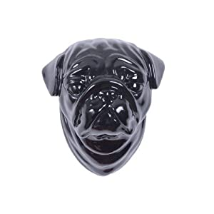 Ceramic Pug Dog Head Wall Art in Black Finish by Home33Accessories