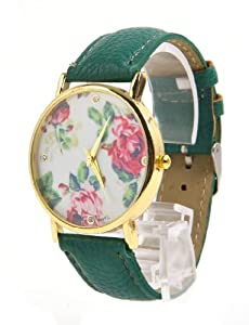 Jonsen Talk Geneva Leather Rose Flower Watch (Dark Green)
