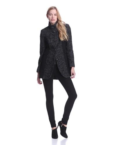 Kensie Women's Mixed Media Tweed Coat  [Black/white Tweed]