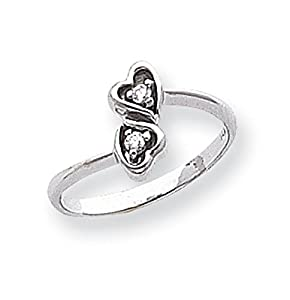 14k White Gold Polished G-H SI2 Quality Diamond heart ring. Carat Wt- 0.054ct