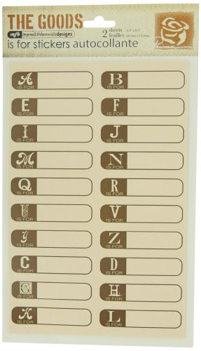 Prima 830144 Is For Alphabet Cardstock Sticker, Brown