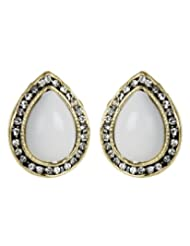 Cinderella Oval White Gold Ear Stud