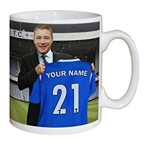 Football Gift Rangers FC Manager Personalised Mug Football Gifts YOUR Surname and Number