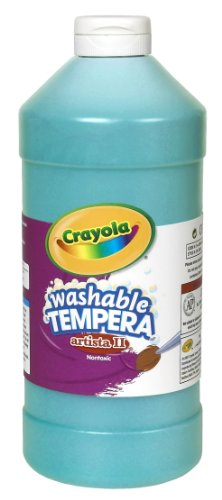 Crayola Tempera Washable Paint 32-Ounce Plastic Squeeze Bottle, Turquoise