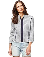 Indigo Collection Cotton Rich Metallic Striped Tweed Jacket