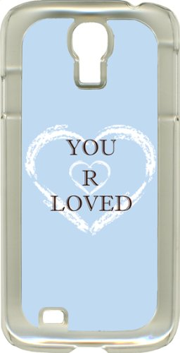 You Are Loved Heart Design On Samsung Galaxy S4 Clear Rubber Case Cover (Baby Blue)