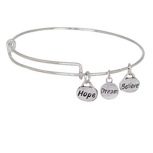 Expandable Bangle Bracelet Stainless Steel Wire, Hope Dream Believe Charms (Bangle Bracelet Stainless Steel compare prices)