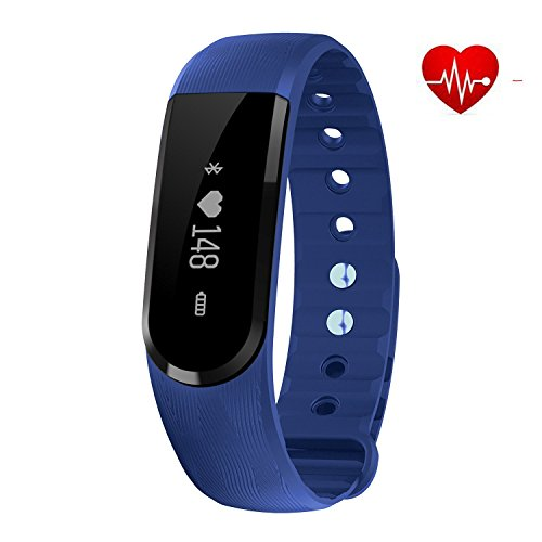 FIT-FIRE Smart Wireless Bluetooth Fitness Tracker with Heart Rate Monitor Activity Tracker Watch (Blue)