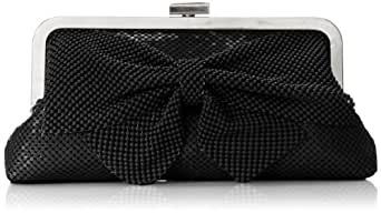 Jessica McClintock Frame Clutch with Bow Evening Bag,Black,One Size