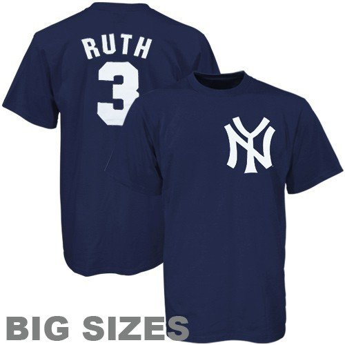 MLB Majestic New York Yankees #3 Babe Ruth Navy Blue Cooperstown Player Big Sizes T-shirt (XXXX-Large) at Amazon.com