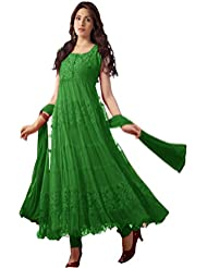 Clickedia Women's Net & Brasson Green Semi - Stitched Anarkali - Dress Material