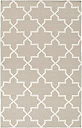 Beige Rug Contemporary Design 8-Foot x 10-Foot Hand-Made Trellis Flatwoven Carpet