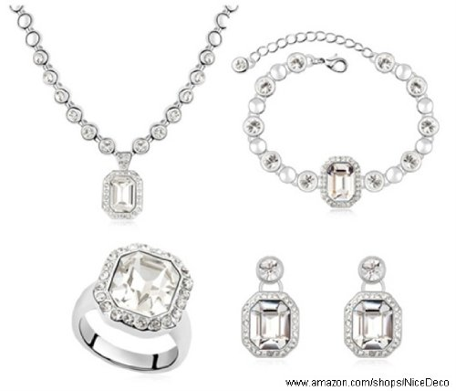 Nicedeco Je-Sw-Tz008-White,Swarovski Elements Austrian Crystal Jewelry Sets,The Rhine River,Necklace,Bracelet,Ring,And Earring(4-Piece Set),Elegant Style And Exquisite Craftsmanship