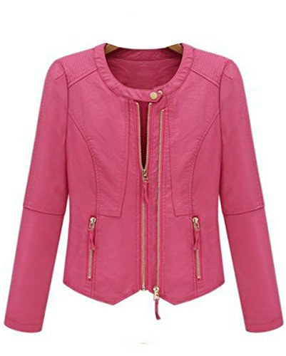 Kawen Women's PU Motorcycle Leather Jacket Coat (S, Pink)