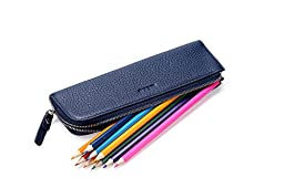 MEKU Pen Pencil Case Soft Leather Zipper Pouch Bag for Students and Artists Blue