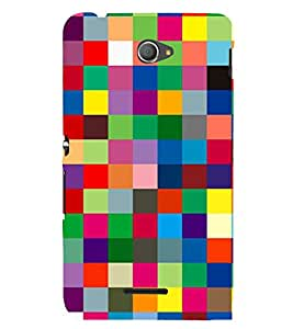 Multicolor Box Pattern Cute Fashion 3D Hard Polycarbonate Designer Back Case Cover for Sony Xperia E4 Dual