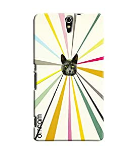 Omnam Cat Face Effect Printed Designer Back Cover Case For Sony Xperia C5