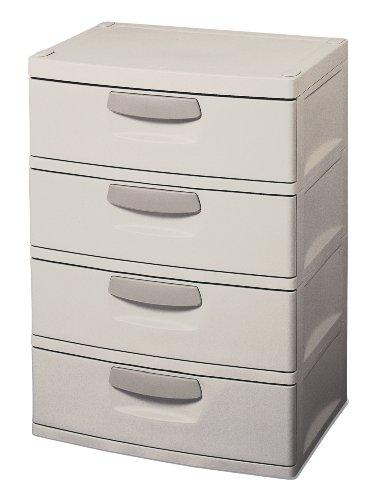 Sterilite 01748501 4-Drawer Unit with Putty Handles, Light Platinum image