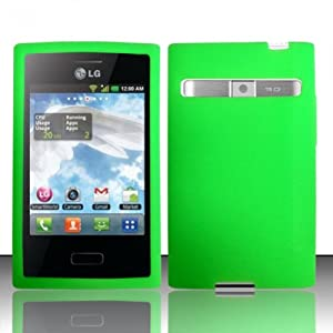 LF Green Silicon Skin Case Cover, Lf Stylus Pen and Wiper For StraightTalk Net 10 LG Optimus Logic L35g Dynamic L38c
