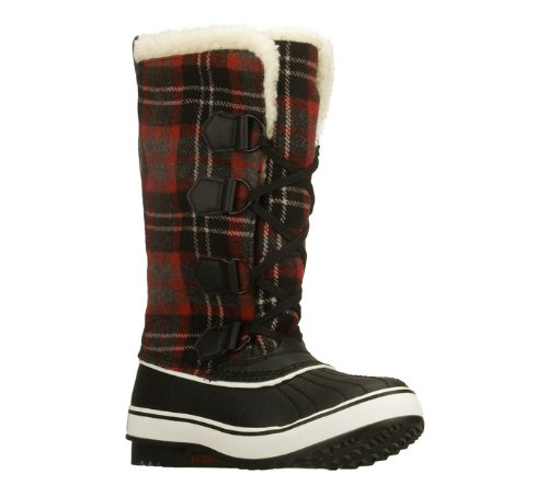 Skechers Highlanders Klondike Womens Waterproof Boots Black/Red 11