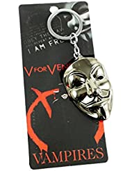 Eshoppee Metal Anonymous Face Mask Keychain For Car And Bikes