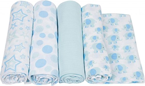 MiracleWare Muslin Swaddle Blanket, Elephants Collection, 4 Piece