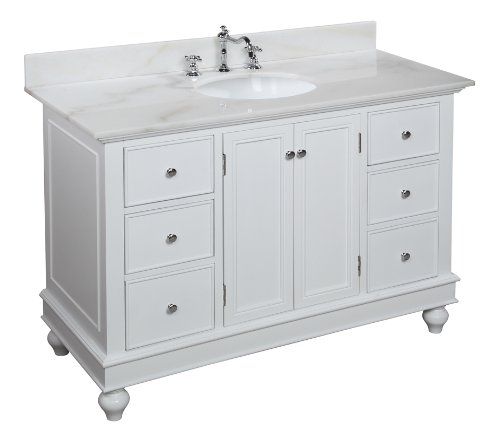 KBC 48-inch Bathroom Vanity (White/white): Includes a White Solid Wood Cabinet, Soft Close Drawers, White Marble Countertop, and a Ceramic Sink