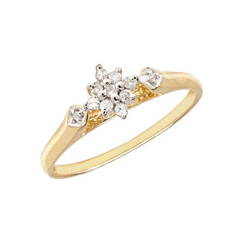 10K Yellow Gold Diamond Cluster Ring (Size 11)