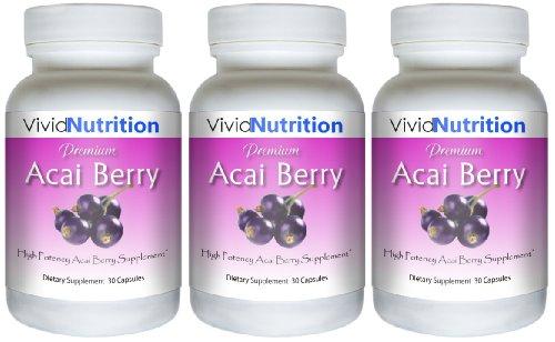PREMIUM ACAI (3 Bottles) - Pure Acai Berry Weight Loss, Colon Cleanse and Detox Diet Supplement