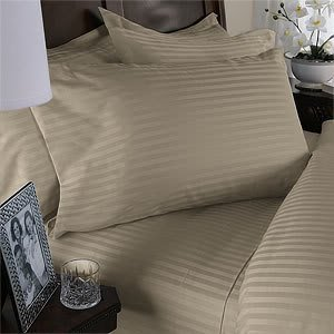 Luxurious Beige Damask Stripe, Queen Size. Eight (8) Piece Down Alternative Comforter Bed In A Bag Set. 800 Thread Count Ultra Soft Single-Ply 100% Egyptian Cotton. Includes 4Pc Bed Sheet Set, 3Pc Duvet Set & Down Alternative Comforter
