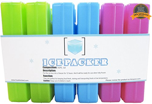 Ice Packs (6 Pcs) - Cool Reusable Freezer Pack - Latest Colorful Cold Packs - Keep Your Food and Beverage Fresh & Cold - Ice Pack for Lunch Box, Cooler & Cooler Bag - Outdoor Events, Picnic, Fishing - & Camping Trips etc.